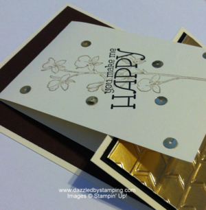 Happy Watercolor, Gold Foil Sheets, Arrows embossing folder, Gold Sequin Trim, www.dazzledbystamping.com