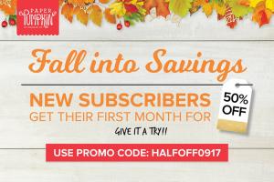 Half off 1st month Paper Pumpkin thru September 10