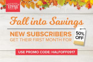 Paper Pumpkin--first month half off, new subscribers
