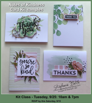 Notes of Kindness Card Kit Class, www.dazzledbystamping.com