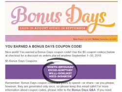 BONUS DAYS email screenshot