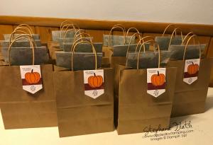 Crafting Retreat goody bags, Harvest Hellos, www.dazzledbystamping.com