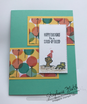 The Gang's All Meer (SAB), Stitched Rectangles Dies, Birthday Bonanza DSP, www.dazzledbystamping.com